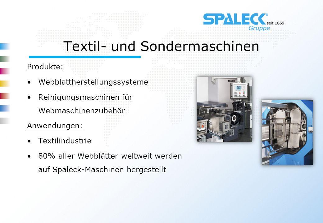 Textil- und Sondermaschinen Produkte: Webblattherstellungssysteme Reinigungsmaschinen für Webmaschinenzubehör Anwendungen: Textilindustrie 80% aller W