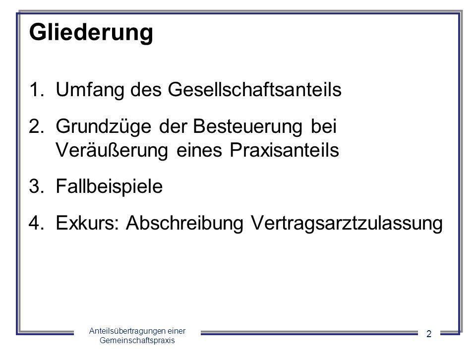 Anteilsübertragungen einer Gemeinschaftspraxis 13 3.