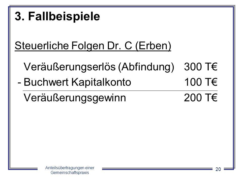 Anteilsübertragungen einer Gemeinschaftspraxis 20 3. Fallbeispiele Steuerliche Folgen Dr. C (Erben) Veräußerungserlös (Abfindung)300 T -Buchwert Kapit