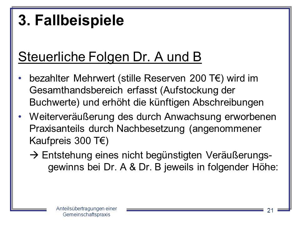 Anteilsübertragungen einer Gemeinschaftspraxis 21 3. Fallbeispiele Steuerliche Folgen Dr. A und B bezahlter Mehrwert (stille Reserven 200 T) wird im G