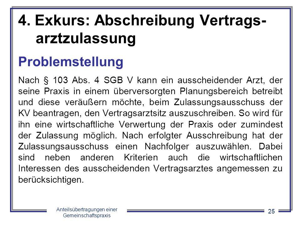 Anteilsübertragungen einer Gemeinschaftspraxis 25 4. Exkurs: Abschreibung Vertrags- arztzulassung Problemstellung Nach § 103 Abs. 4 SGB V kann ein aus