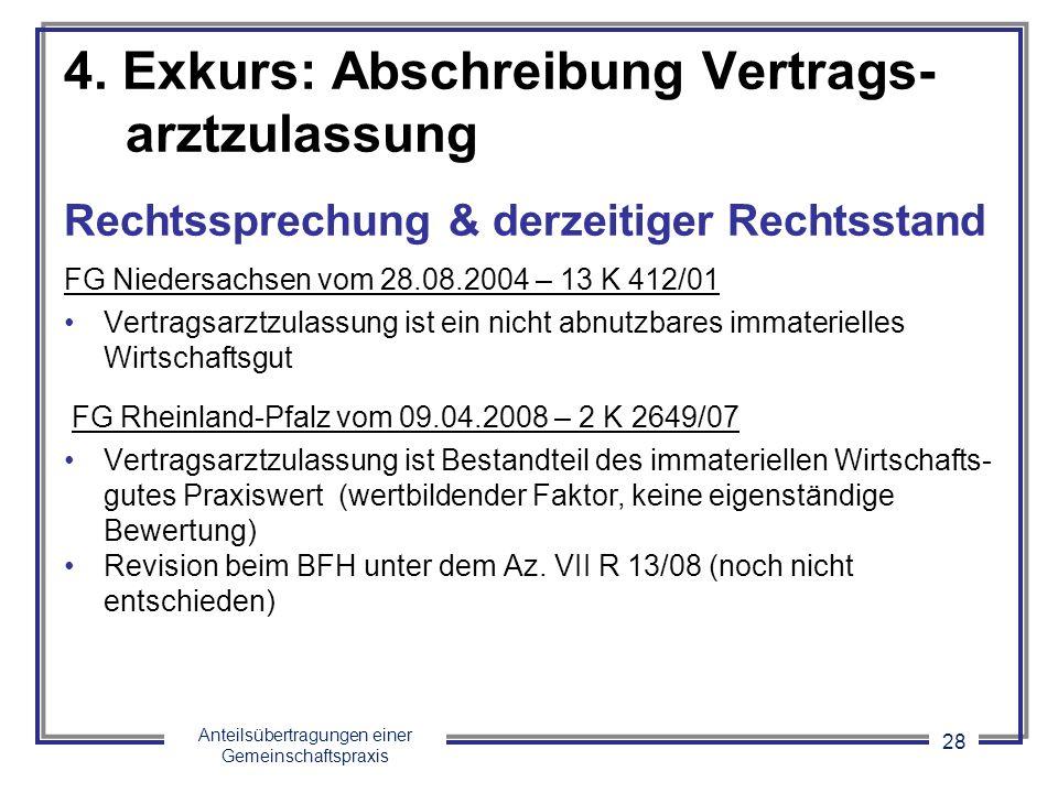 Anteilsübertragungen einer Gemeinschaftspraxis 28 4. Exkurs: Abschreibung Vertrags- arztzulassung Rechtssprechung & derzeitiger Rechtsstand FG Nieders