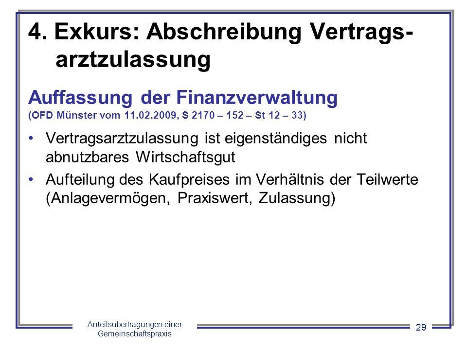 Anteilsübertragungen einer Gemeinschaftspraxis 29 4. Exkurs: Abschreibung Vertrags- arztzulassung Auffassung der Finanzverwaltung (OFD Münster vom 11.