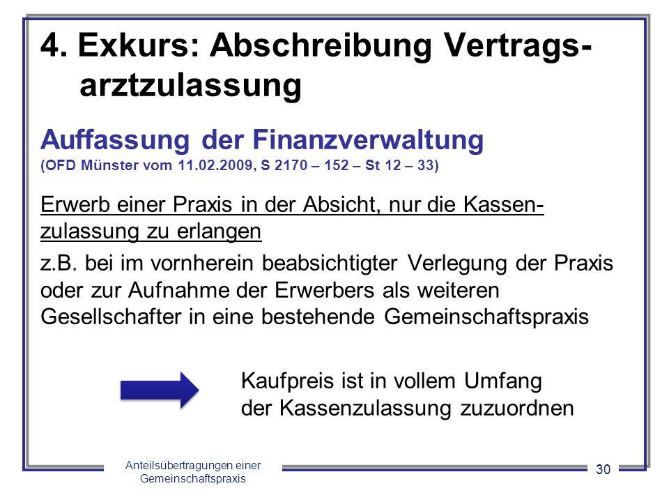 Anteilsübertragungen einer Gemeinschaftspraxis 30 4. Exkurs: Abschreibung Vertrags- arztzulassung Auffassung der Finanzverwaltung (OFD Münster vom 11.