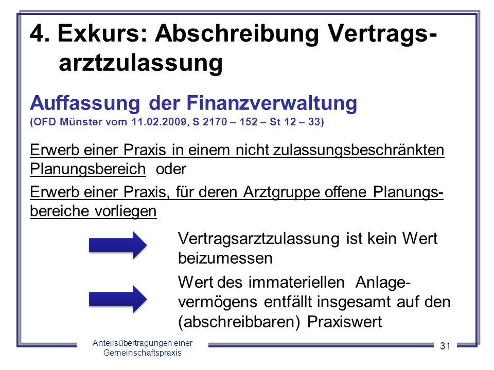Anteilsübertragungen einer Gemeinschaftspraxis 31 4. Exkurs: Abschreibung Vertrags- arztzulassung Auffassung der Finanzverwaltung (OFD Münster vom 11.