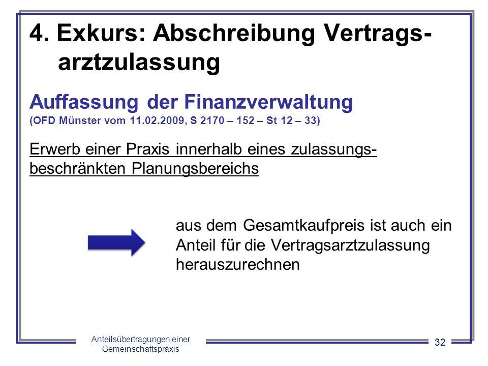 Anteilsübertragungen einer Gemeinschaftspraxis 32 4. Exkurs: Abschreibung Vertrags- arztzulassung Auffassung der Finanzverwaltung (OFD Münster vom 11.