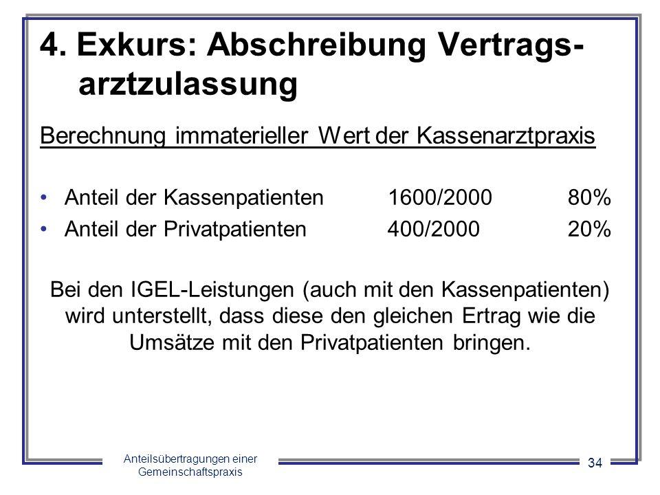 Anteilsübertragungen einer Gemeinschaftspraxis 34 4. Exkurs: Abschreibung Vertrags- arztzulassung Berechnung immaterieller Wert der Kassenarztpraxis A