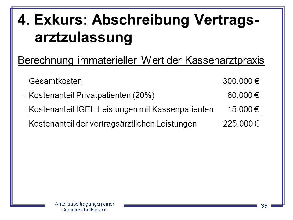 Anteilsübertragungen einer Gemeinschaftspraxis 35 4. Exkurs: Abschreibung Vertrags- arztzulassung Berechnung immaterieller Wert der Kassenarztpraxis G