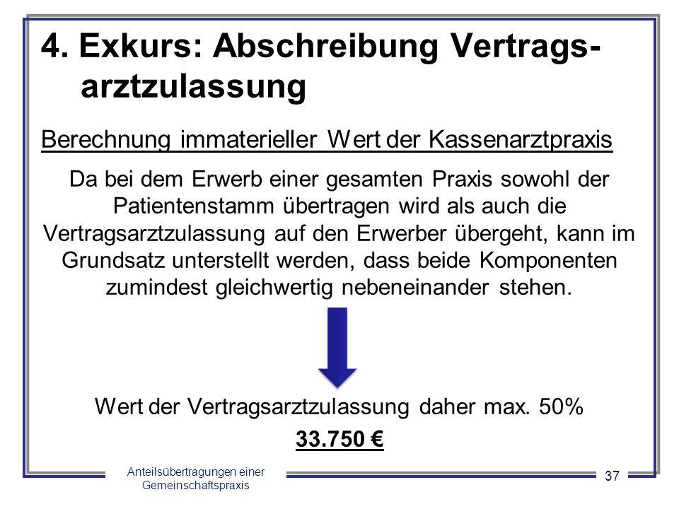 Anteilsübertragungen einer Gemeinschaftspraxis 37 4. Exkurs: Abschreibung Vertrags- arztzulassung Berechnung immaterieller Wert der Kassenarztpraxis D