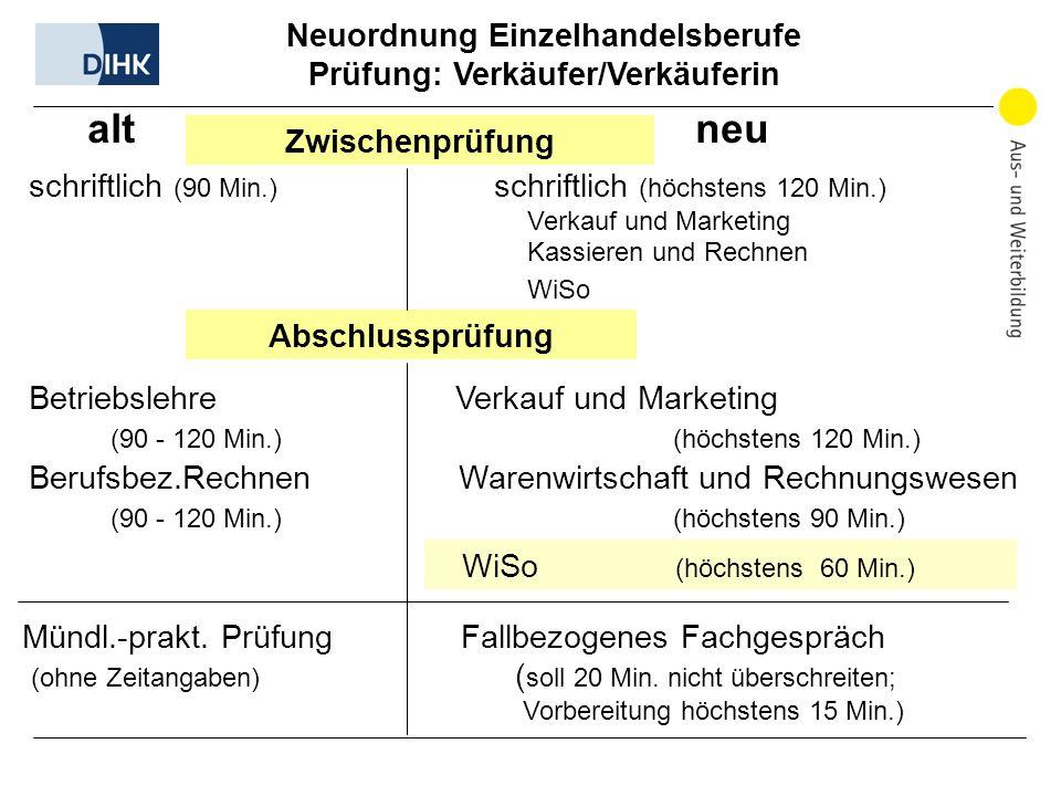 Neuordnung Einzelhandelsberufe Prüfung: Verkäufer/Verkäuferin alt neu Zwischenprüfung schriftlich (90 Min.) schriftlich (höchstens 120 Min.) Verkauf u