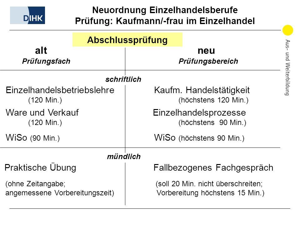alt neu Abschlussprüfung Prüfungsfach Prüfungsbereich schriftlich Einzelhandelsbetriebslehre Kaufm. Handelstätigkeit (120 Min.) (höchstens 120 Min.) W