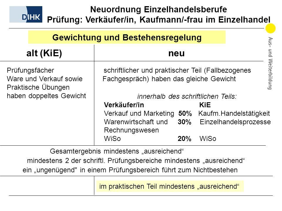 Neuordnung Einzelhandelsberufe Prüfung: Verkäufer/in, Kaufmann/-frau im Einzelhandel Gewichtung und Bestehensregelung alt (KiE) neu Prüfungsfächer sch