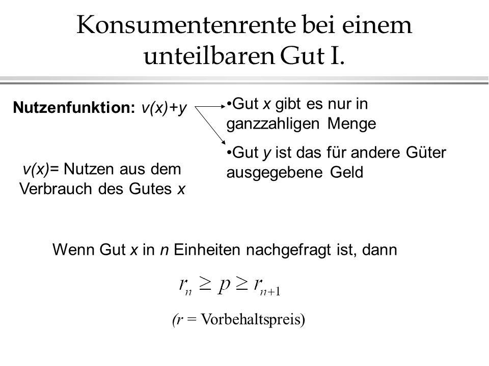 Konsumentenrente bei einem unteilbaren Gut I. Nutzenfunktion: v(x)+y Gut x gibt es nur in ganzzahligen Menge Gut y ist das für andere Güter ausgegeben