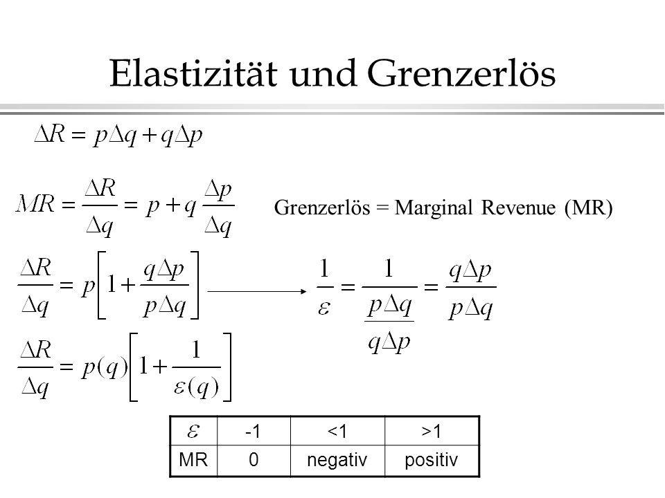 Elastizität und Grenzerlös Grenzerlös = Marginal Revenue (MR) <1>1 MR0negativpositiv