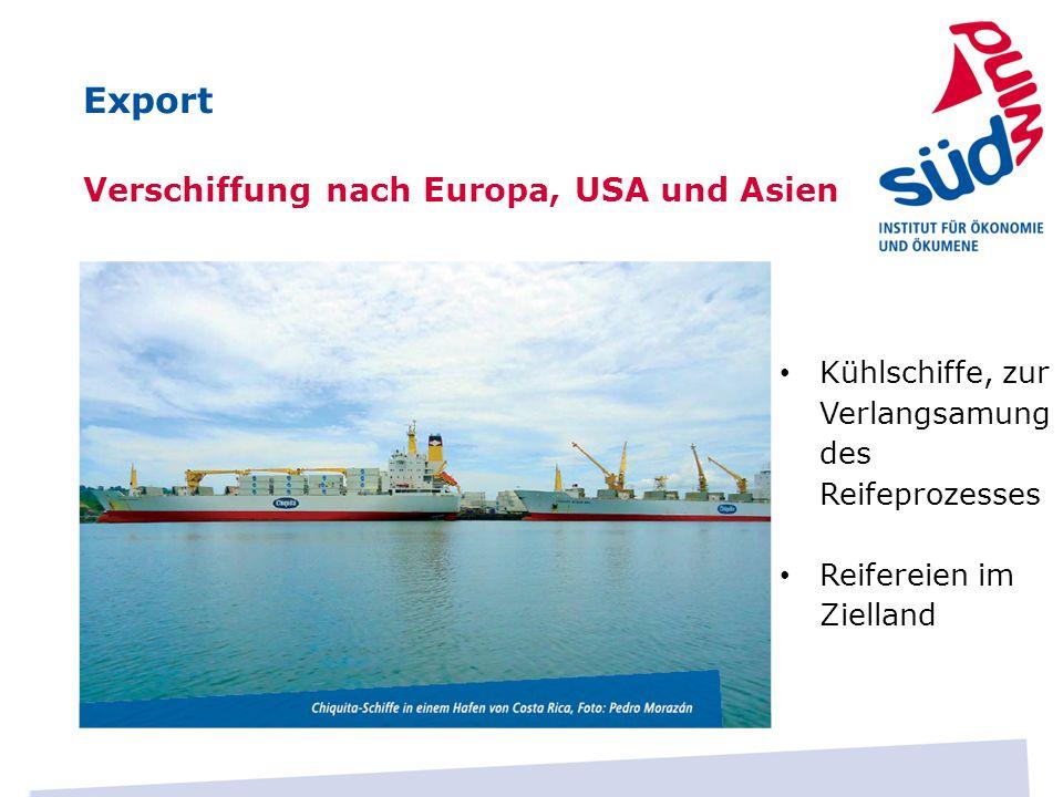 Verschiffung nach Europa, USA und Asien Kühlschiffe, zur Verlangsamung des Reifeprozesses Reifereien im Zielland