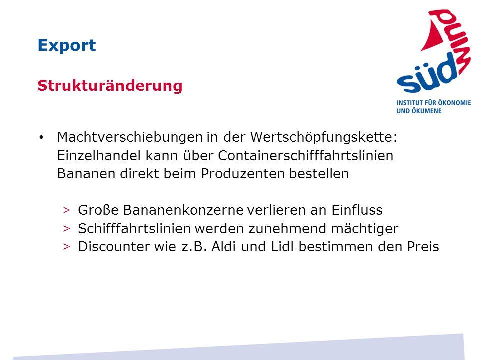 Export Strukturänderung Machtverschiebungen in der Wertschöpfungskette: Einzelhandel kann über Containerschifffahrtslinien Bananen direkt beim Produze