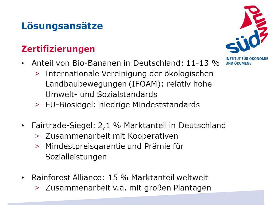 Lösungsansätze Zertifizierungen Anteil von Bio-Bananen in Deutschland: 11-13 % > Internationale Vereinigung der ökologischen Landbaubewegungen (IFOAM)