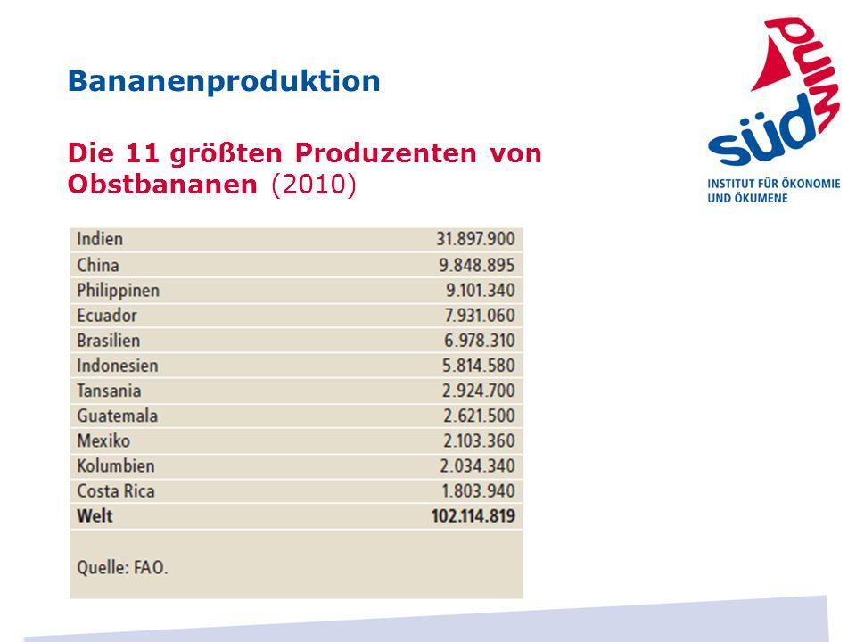 Die 11 größten Produzenten von Obstbananen (2010) Bananenproduktion