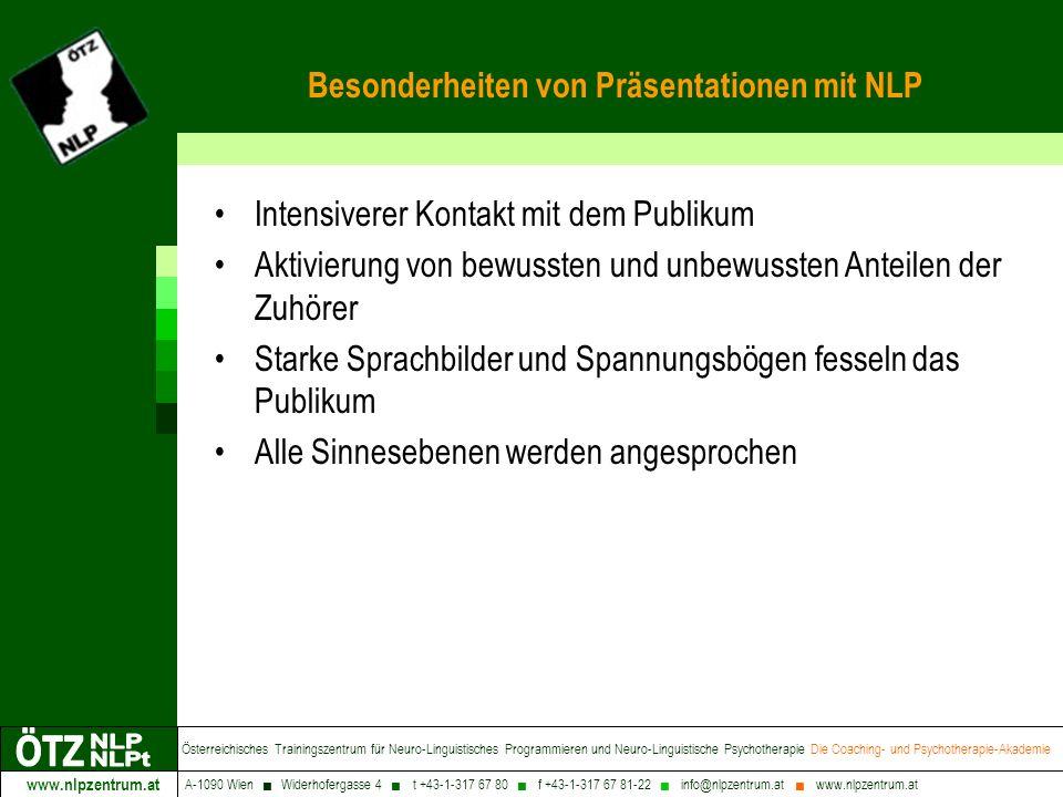 www.nlpzentrum.at Österreichisches Trainingszentrum für Neuro-Linguistisches Programmieren und Neuro-Linguistische Psychotherapie Die Coaching- und Psychotherapie-Akademie A-1090 Wien Widerhofergasse 4 t +43-1-317 67 80 f +43-1-317 67 81-22 info@nlpzentrum.at www.nlpzentrum.at Die entscheidende Frage Wissen Verkäufer, Präsentatoren, Führungskräfte nicht auch ohne NLP, dass z.B.