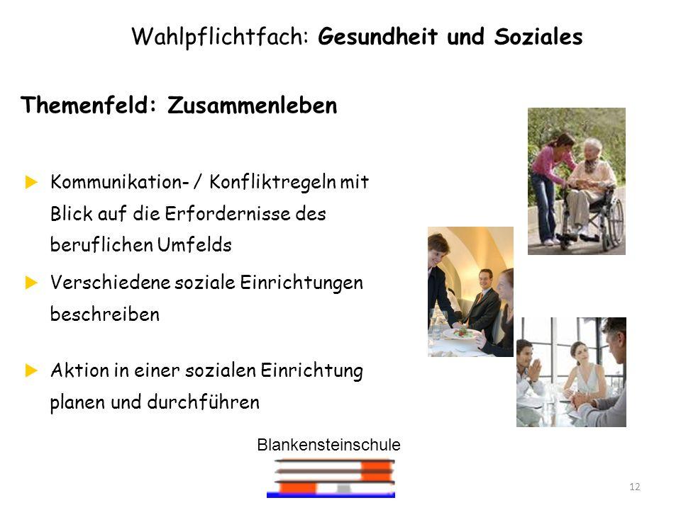 Blankensteinschule 12 Wahlpflichtfach: Gesundheit und Soziales Themenfeld: Zusammenleben Kommunikation- / Konfliktregeln mit Blick auf die Erfordernis