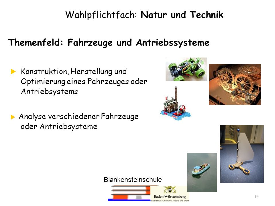 Blankensteinschule 19 Wahlpflichtfach: Natur und Technik Themenfeld: Fahrzeuge und Antriebssysteme Konstruktion, Herstellung und Optimierung eines Fah