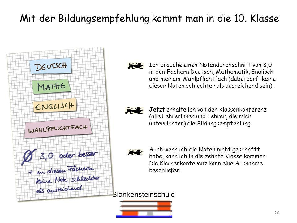 Blankensteinschule 20 Mit der Bildungsempfehlung kommt man in die 10. Klasse Jetzt erhalte ich von der Klassenkonferenz (alle Lehrerinnen und Lehrer,