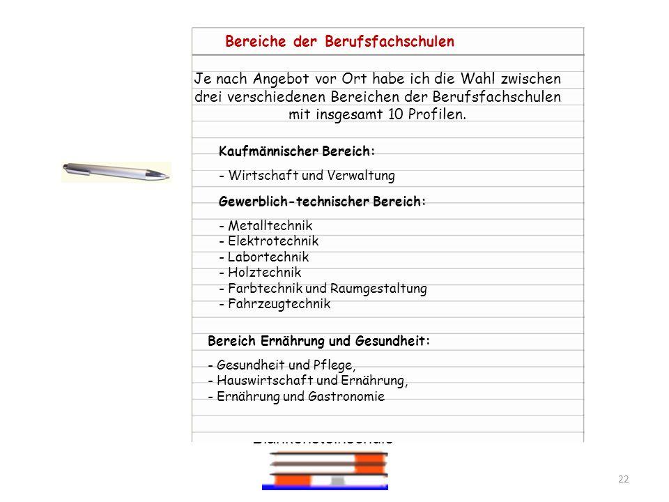 Blankensteinschule 22 Kaufmännischer Bereich: - Wirtschaft und Verwaltung Gewerblich-technischer Bereich: - Metalltechnik - Elektrotechnik - Labortech