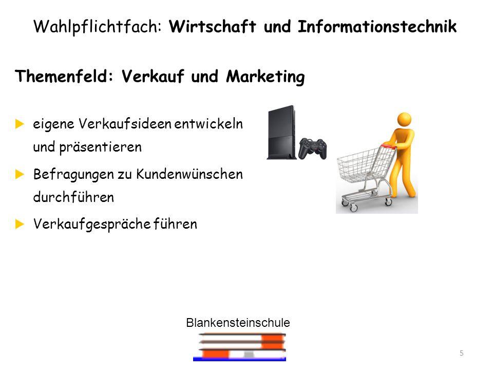 Blankensteinschule 5 Themenfeld: Verkauf und Marketing eigene Verkaufsideen entwickeln und präsentieren Befragungen zu Kundenwünschen durchführen Verk