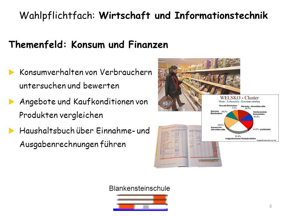 Blankensteinschule 6 Themenfeld: Konsum und Finanzen Konsumverhalten von Verbrauchern untersuchen und bewerten Angebote und Kaufkonditionen von Produk