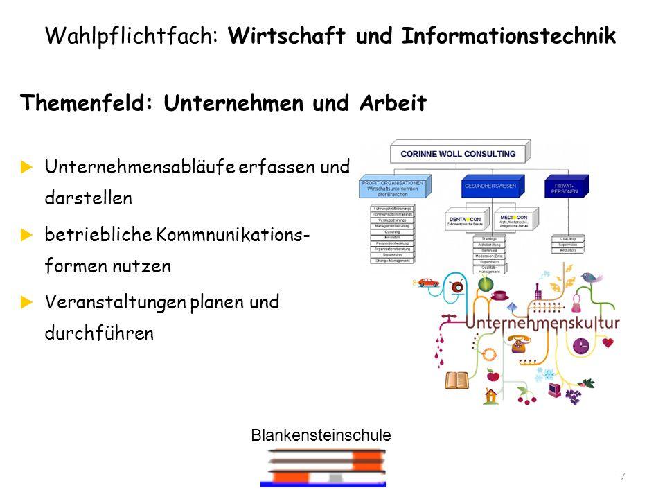 Blankensteinschule 7 Themenfeld: Unternehmen und Arbeit Unternehmensabläufe erfassen und darstellen betriebliche Kommnunikations- formen nutzen Verans