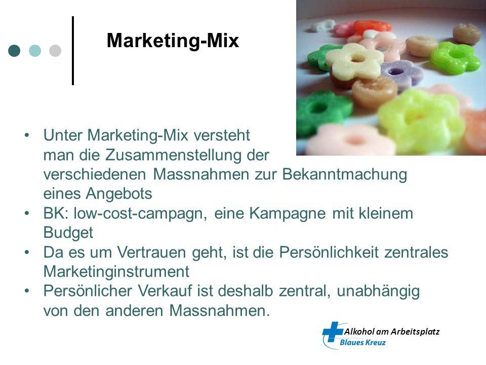 Alkohol am Arbeitsplatz Marketing-Mix Unter Marketing-Mix versteht man die Zusammenstellung der verschiedenen Massnahmen zur Bekanntmachung eines Ange