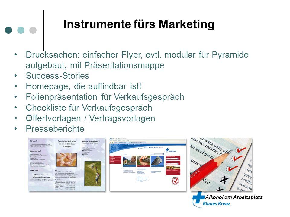 Alkohol am Arbeitsplatz Instrumente fürs Marketing Drucksachen: einfacher Flyer, evtl. modular für Pyramide aufgebaut, mit Präsentationsmappe Success-