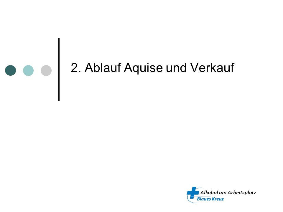 Alkohol am Arbeitsplatz Ablauf Aquise und Verkauf (aktiv) Kontaktnahme (analog Vorprojekt) Vorgespräch Kunde (Bedürfnisse aufnehmen, Angebote vorstellen) Offerte erstellen Auftrag Auftrag AaA BK