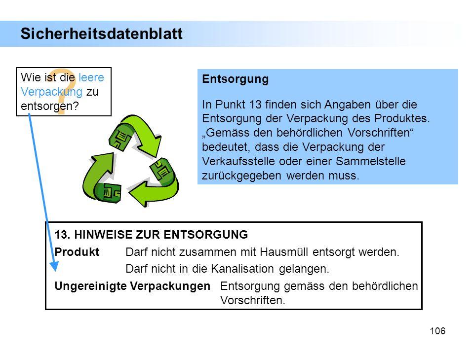 106 ? Wie ist die leere Verpackung zu entsorgen? Entsorgung In Punkt 13 finden sich Angaben über die Entsorgung der Verpackung des Produktes. Gemäss d