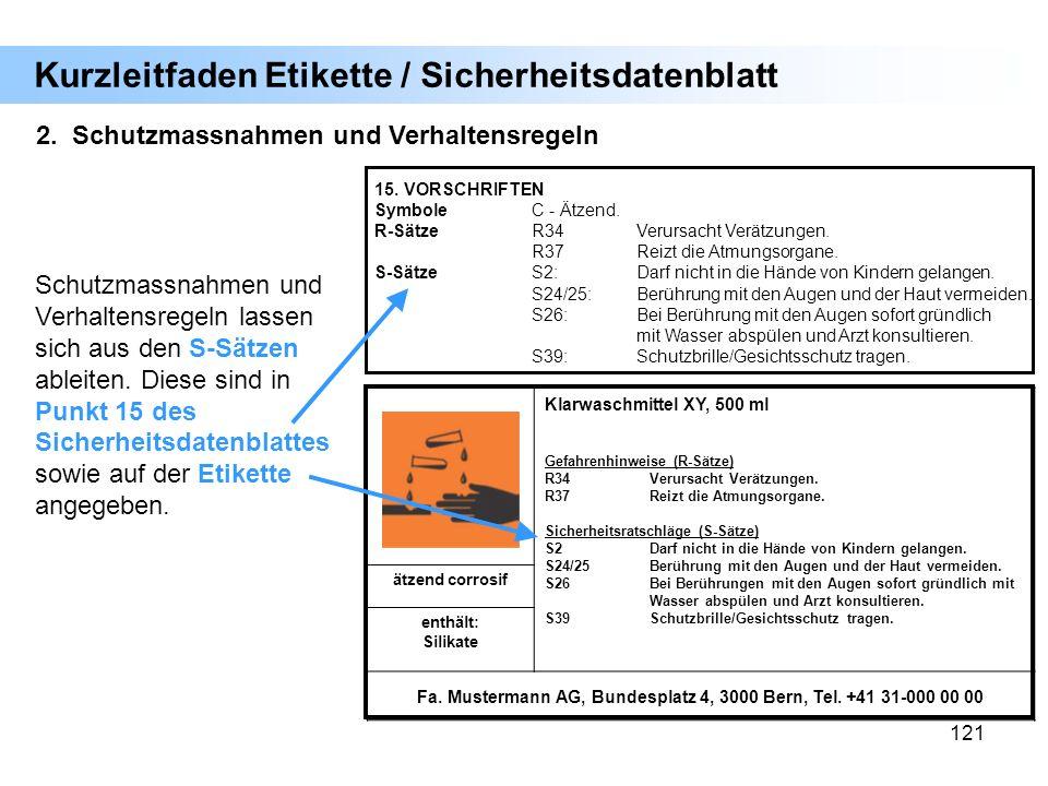 121 2. Schutzmassnahmen und Verhaltensregeln Kurzleitfaden Etikette / Sicherheitsdatenblatt Klarwaschmittel XY, 500 ml Gefahrenhinweise (R-Sätze) R34V