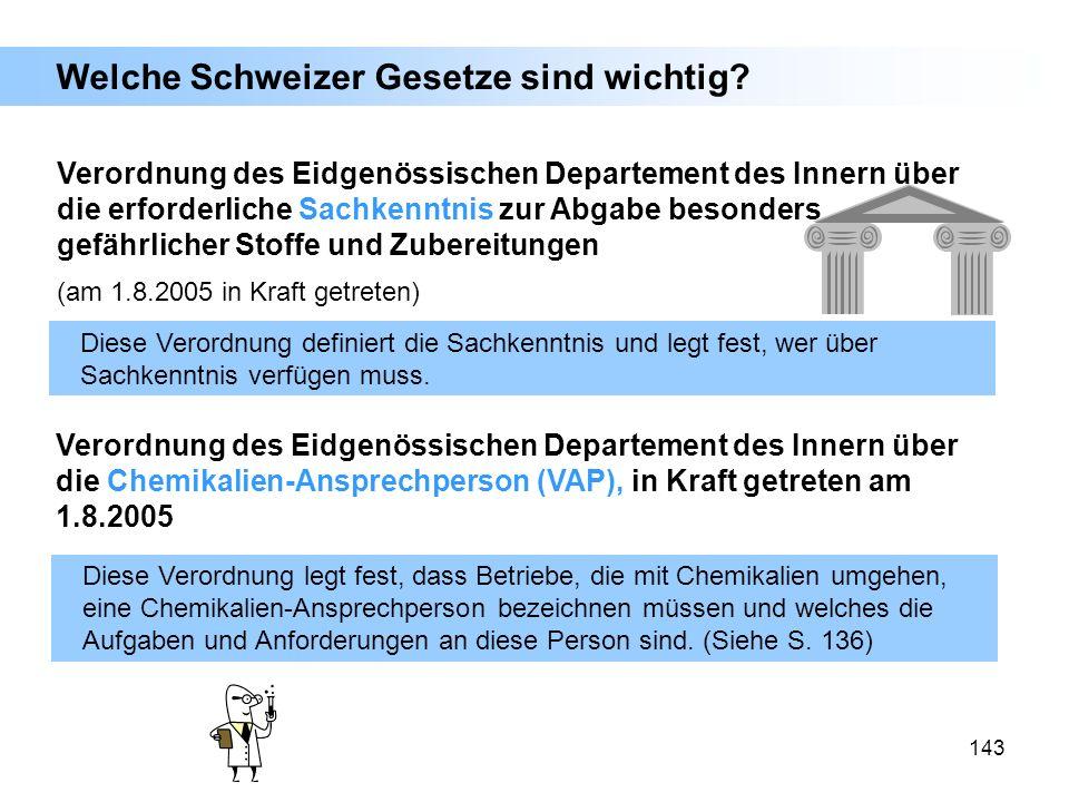 143 Verordnung des Eidgenössischen Departement des Innern über die erforderliche Sachkenntnis zur Abgabe besonders gefährlicher Stoffe und Zubereitung