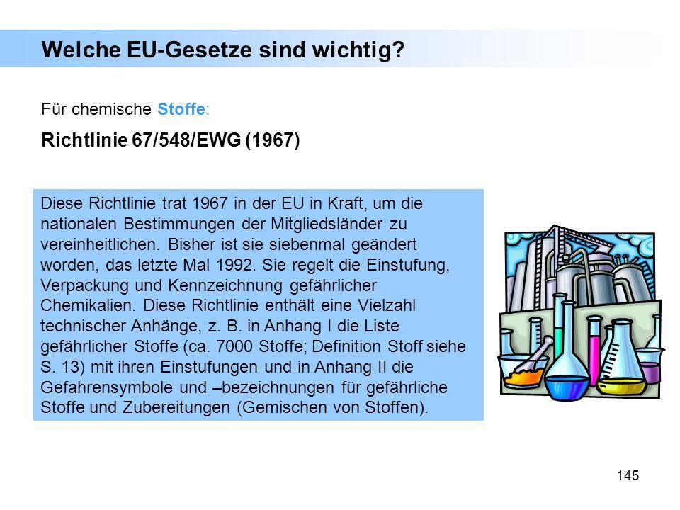 145 Welche EU-Gesetze sind wichtig? Für chemische Stoffe: Richtlinie 67/548/EWG (1967) Diese Richtlinie trat 1967 in der EU in Kraft, um die nationale