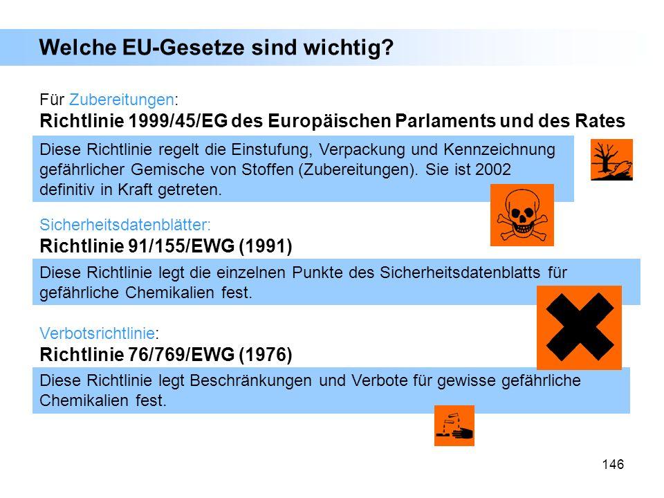 146 Welche EU-Gesetze sind wichtig? Verbotsrichtlinie: Richtlinie 76/769/EWG (1976) Diese Richtlinie regelt die Einstufung, Verpackung und Kennzeichnu