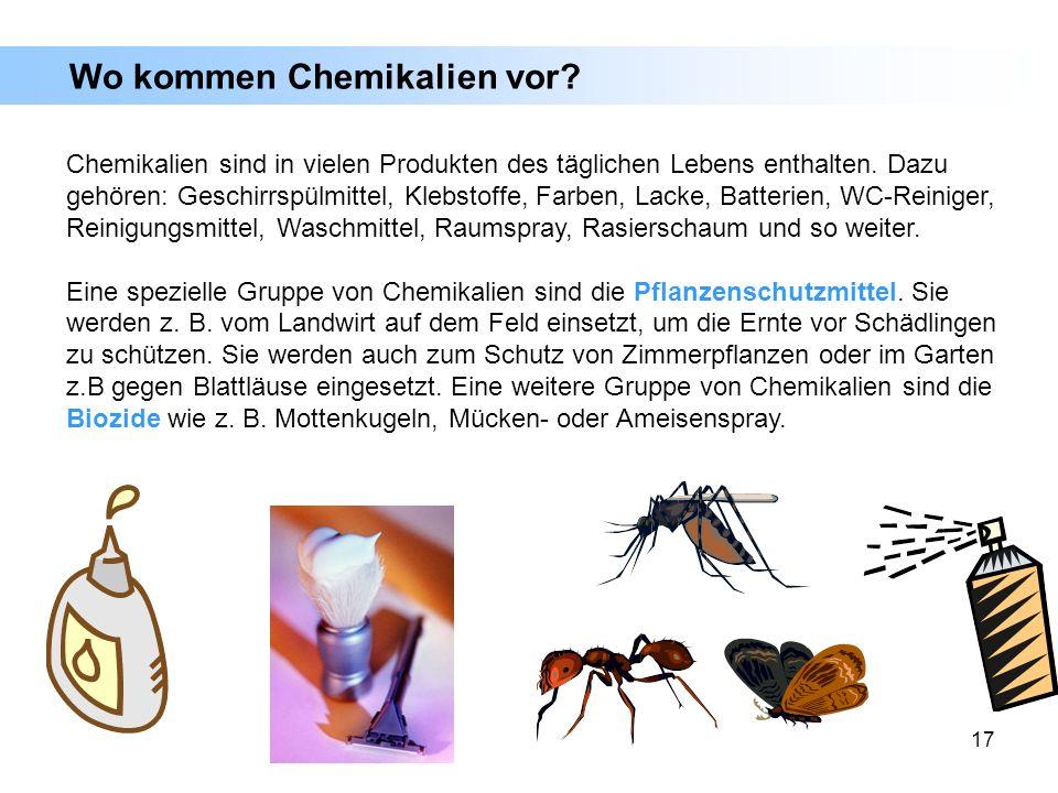 17 Wo kommen Chemikalien vor? Chemikalien sind in vielen Produkten des täglichen Lebens enthalten. Dazu gehören: Geschirrspülmittel, Klebstoffe, Farbe