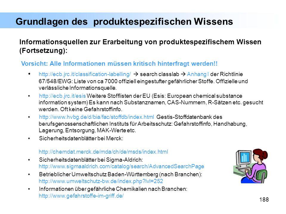 188 Informationsquellen zur Erarbeitung von produktespezifischem Wissen (Fortsetzung): Vorsicht: Alle Informationen müssen kritisch hinterfragt werden