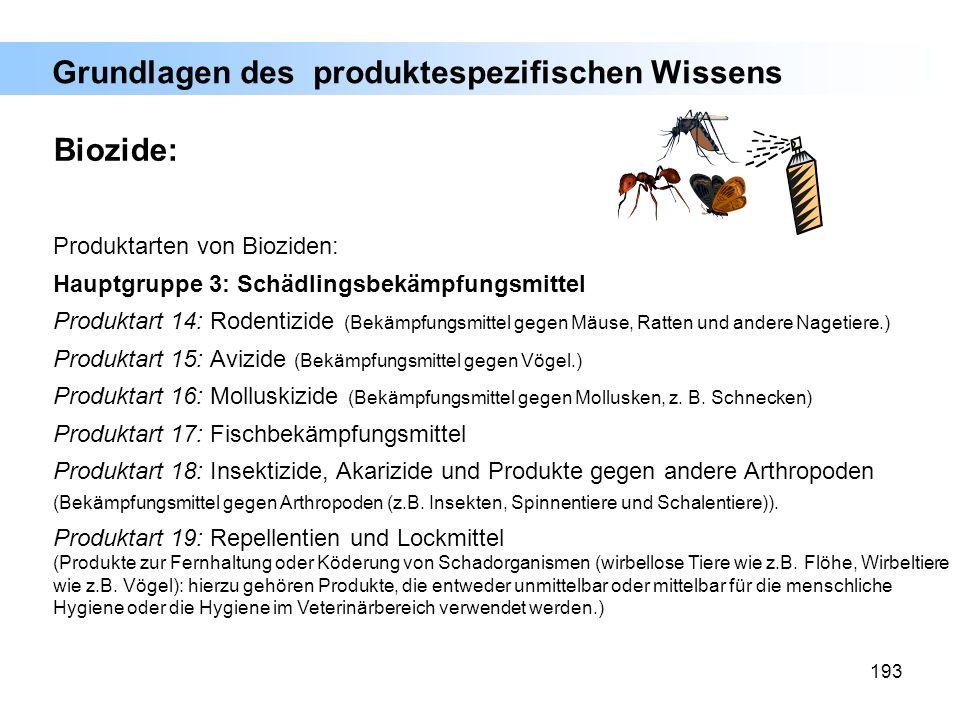 193 Produktarten von Bioziden: Hauptgruppe 3: Schädlingsbekämpfungsmittel Produktart 14: Rodentizide (Bekämpfungsmittel gegen Mäuse, Ratten und andere