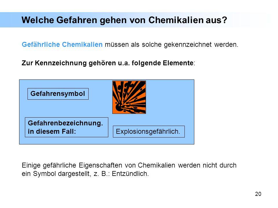 20 E Zur Kennzeichnung gehören u.a. folgende Elemente: Welche Gefahren gehen von Chemikalien aus? Gefahrensymbol Gefahrenbezeichnung. in diesem Fall: