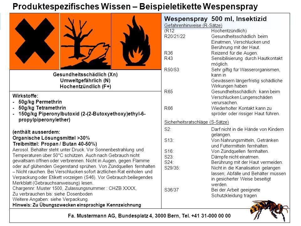 200 Fa. Mustermann AG, Bundesplatz 4, 3000 Bern, Tel. +41 31-000 00 00 Wirkstoffe: - 50g/kg Permethrin -50g/kg Tetramethrin - 150g/kg Piperonylbutoxid