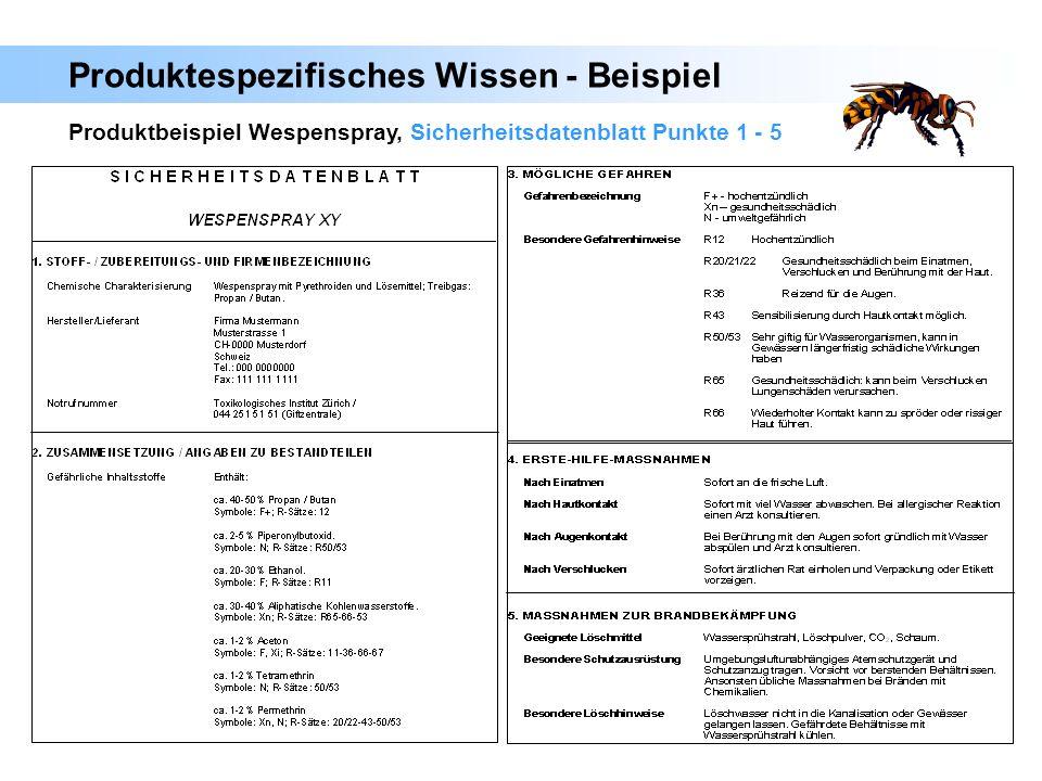 201 Produktbeispiel Wespenspray, Sicherheitsdatenblatt Punkte 1 - 5 Produktespezifisches Wissen - Beispiel