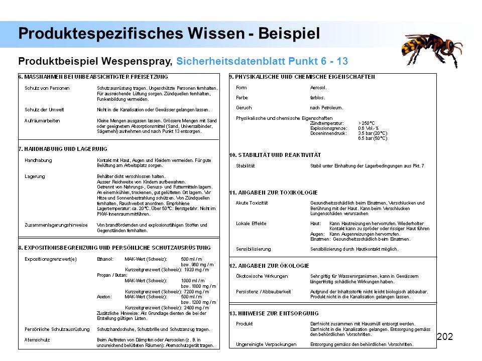 202 Produktbeispiel Wespenspray, Sicherheitsdatenblatt Punkt 6 - 13 Produktespezifisches Wissen - Beispiel