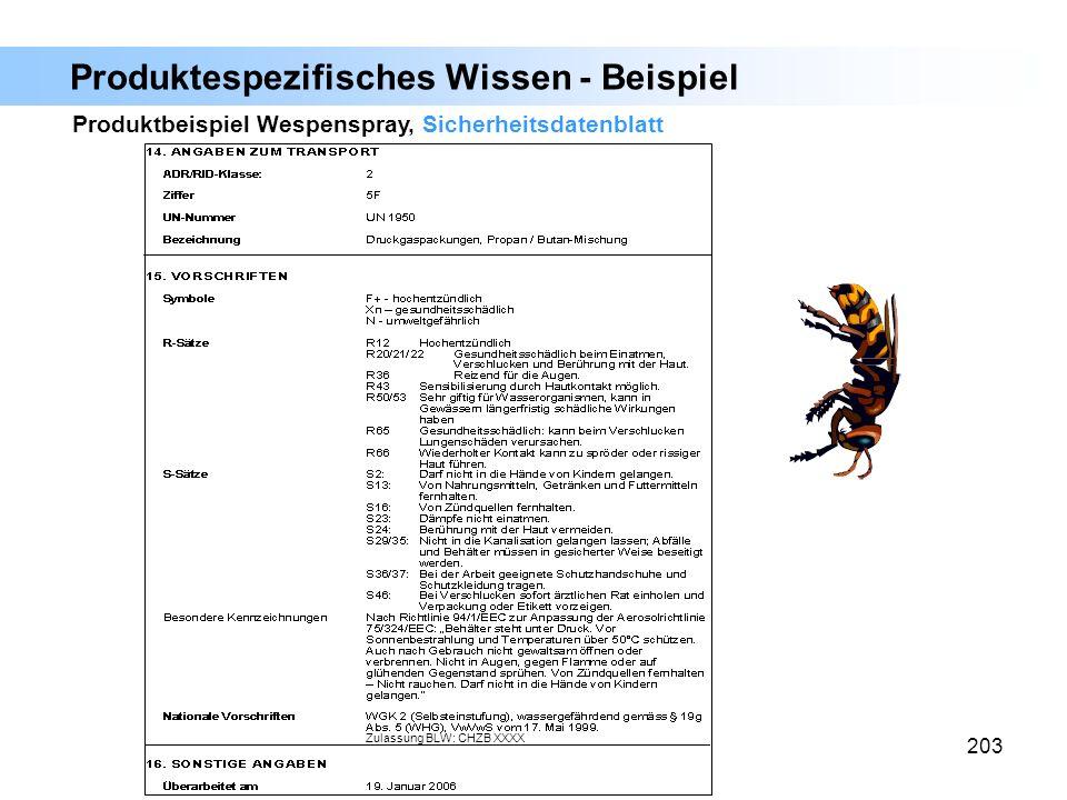 203 Produktbeispiel Wespenspray, Sicherheitsdatenblatt Produktespezifisches Wissen - Beispiel Zulassung BLW: CHZB XXXX