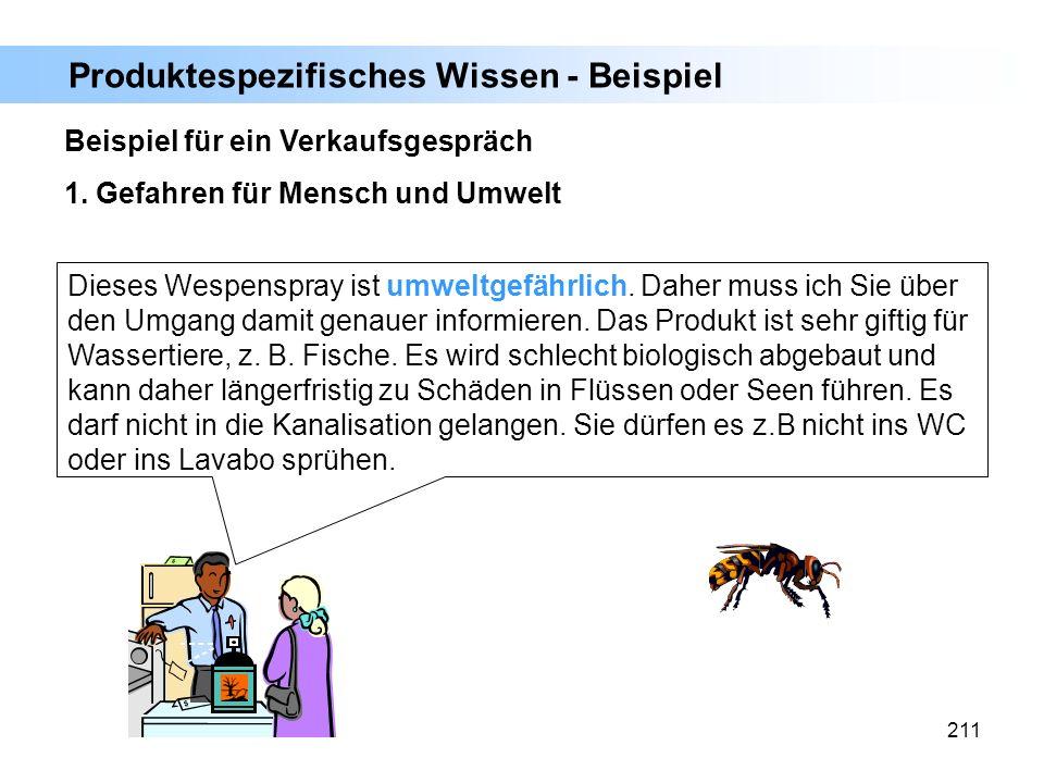 211 Beispiel für ein Verkaufsgespräch 1. Gefahren für Mensch und Umwelt Dieses Wespenspray ist umweltgefährlich. Daher muss ich Sie über den Umgang da