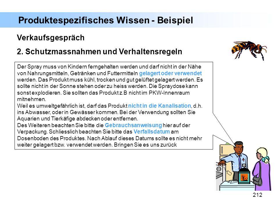 212 Verkaufsgespräch 2. Schutzmassnahmen und Verhaltensregeln Der Spray muss von Kindern ferngehalten werden und darf nicht in der Nähe von Nahrungsmi