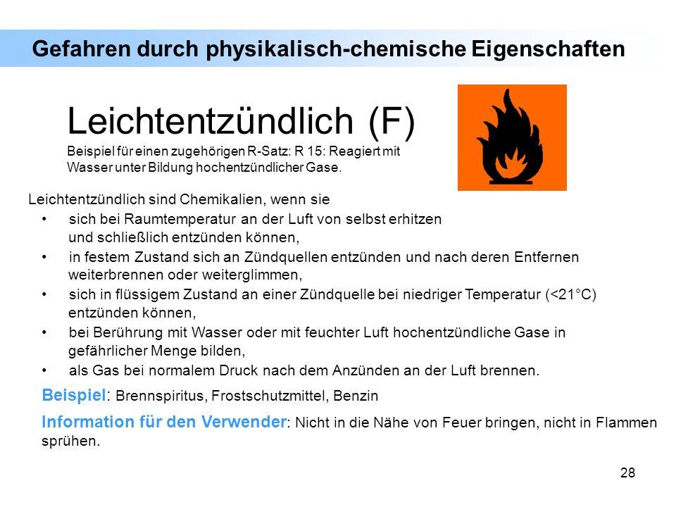 28 Leichtentzündlich sind Chemikalien, wenn sie sich bei Raumtemperatur an der Luft von selbst erhitzen und schließlich entzünden können, in festem Zu