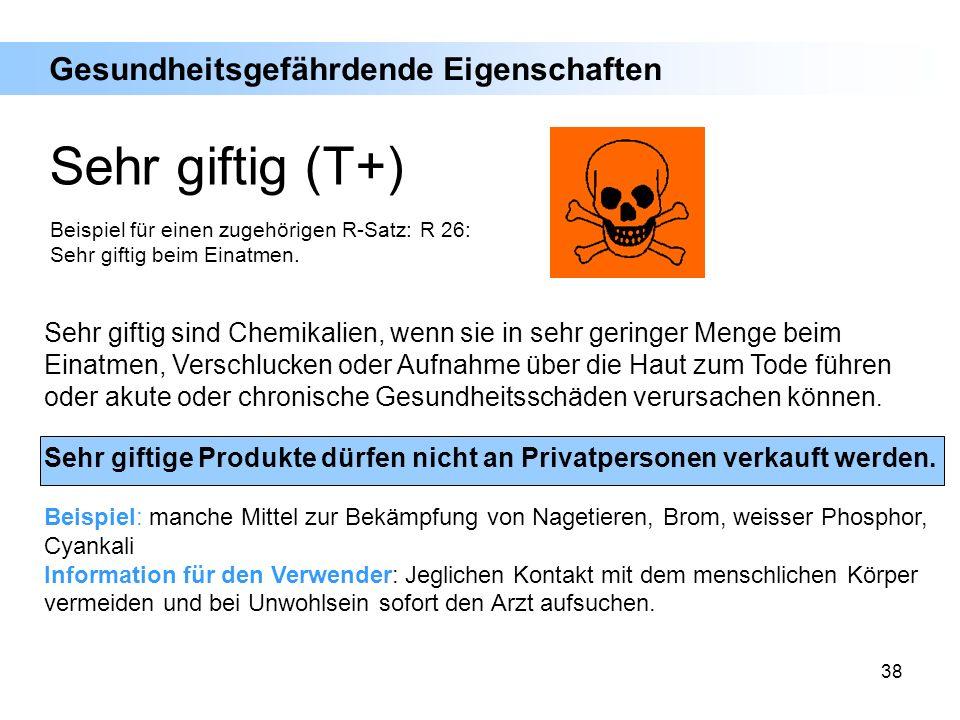 38 Sehr giftig sind Chemikalien, wenn sie in sehr geringer Menge beim Einatmen, Verschlucken oder Aufnahme über die Haut zum Tode führen oder akute od